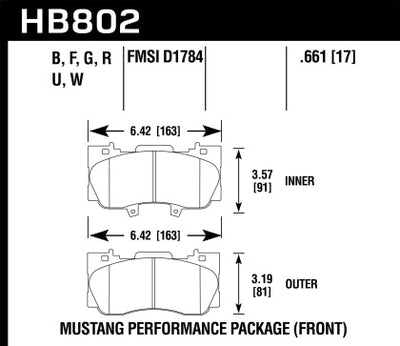 HAWK PERFORMANCE 15-17 MUSTANG PERFORMANCE PACKAGE HPS 5.0 FRONT BRAKE PADS