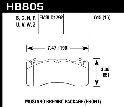 HAWK PERFORMANCE 15-17 MUSTANG BREMBO PACKAGE HP+ FRONT BRAKE PADS