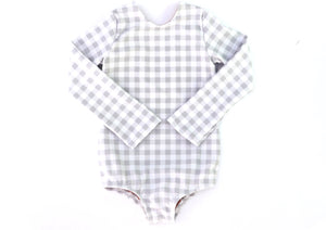 Grey Gingham Swimsuit