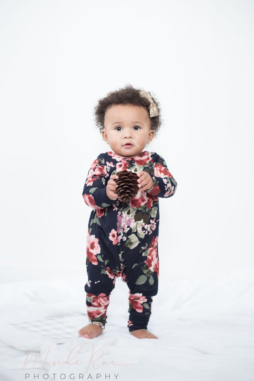 Midnight Floral Bird Romper