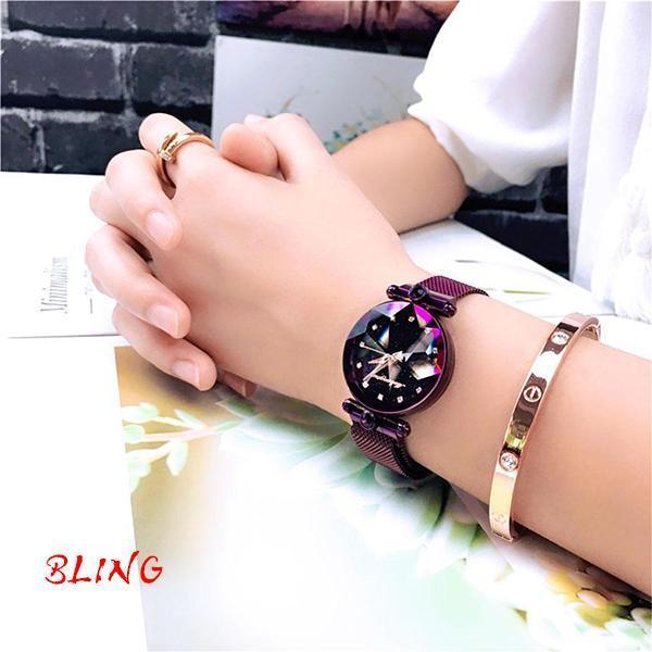 (Free Bracelet)Bling Magnetic Watchband Engraved Women Watches