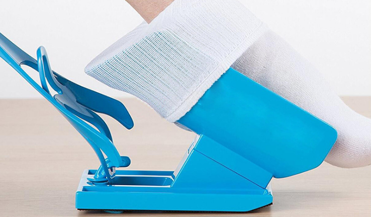 (Factory Outlet)-70% off-Sock Slider Aid Helper Easy Put Socks On Off No Bending Stretching for Pregnancy and Injuries Living Tool Blue