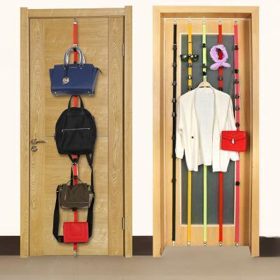 Adjustable Over Door Straps Hanger Hat Clothes Coat Bag Rack Organizer