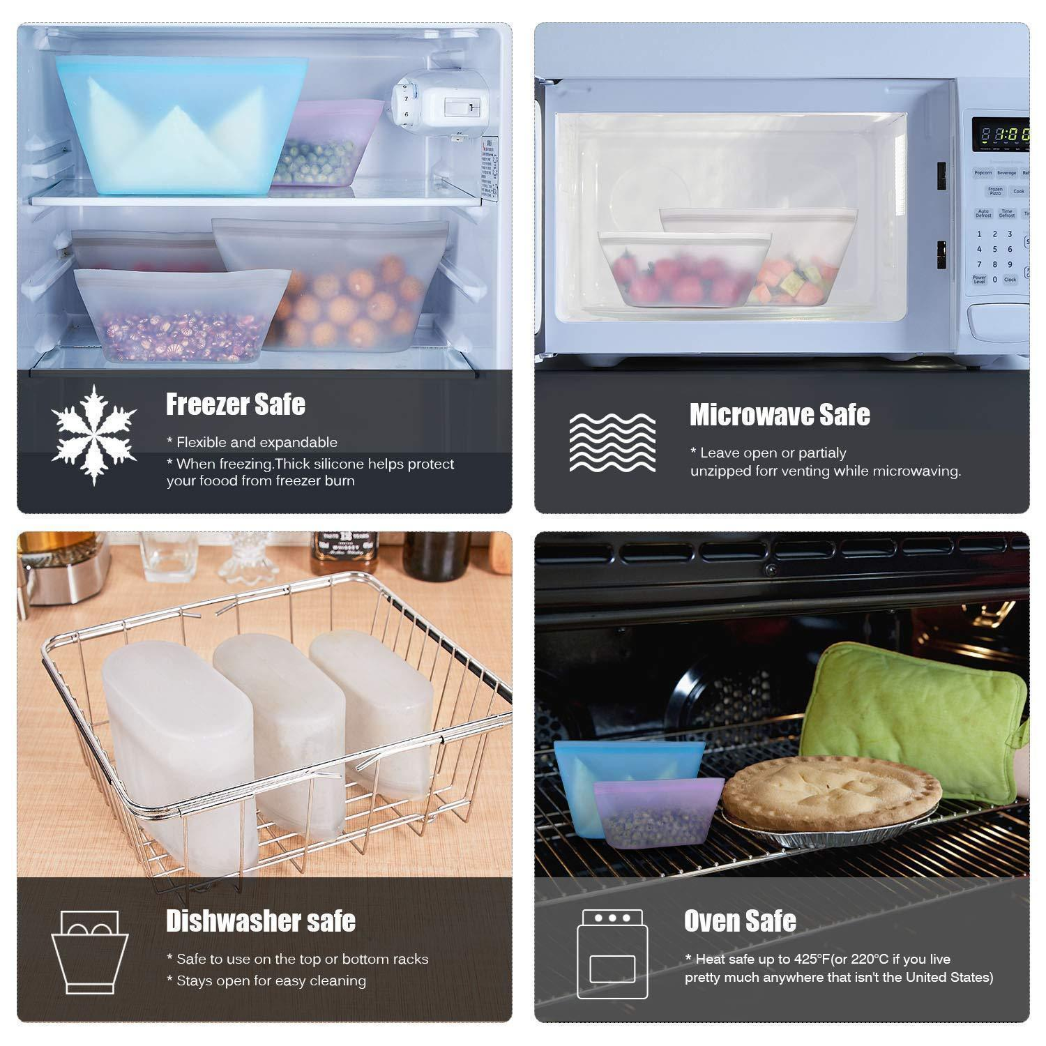 Zip Lock Leakproof Containers-Completely Plastic-Free Food Grade Silicone