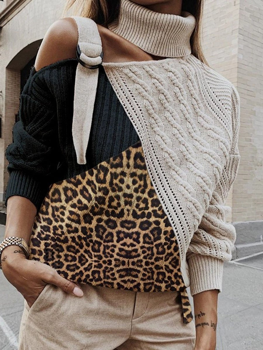 Leopard-Print Knit Turtleneck Sweater