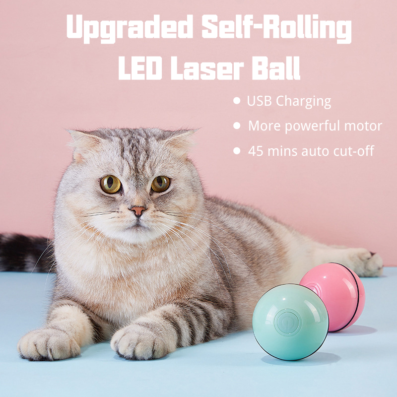 Upgraded Self-Rolling LED Laser Ball Toy For Pets