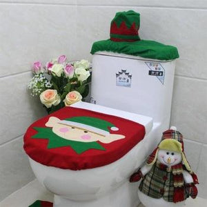 Toilet Foot Pad Seat Cover Cap Christmas Decorations Happy Santa Toilet Seat Cover and Rug Bathroom Accessory Santa Claus 1Set