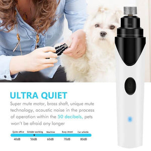 Dog & Cat Nail Grinder Electric Rechargeable USB Pet Paws Painless Trimmer Clipper (NOISE FREE)