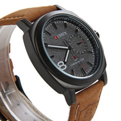 Curren Man's Watch - Black Face - Curren Men's Quartz Watch Number Indicative Trapezoids Leather Watchband