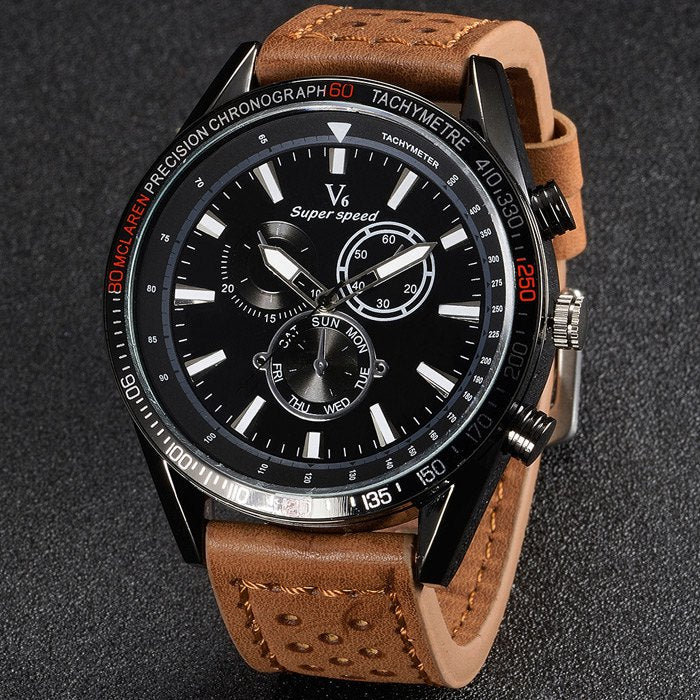 V6 V0270 BLACK FACE Male Quartz Watch Tan Leather Band/Black Face