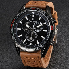 V6 V0270 Mens Quartz Watch with Tan Leather Band/Black Face