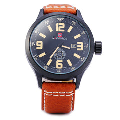 Naviforce Men's Watch - Water Resistant Quartz (Japanese Movement) Watch with Date Day Display Leather Band