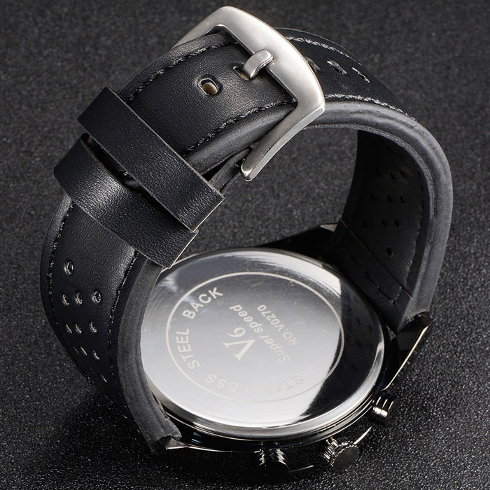 V6 V0270 WHITE FACE Male Quartz Watch Black Leather Band/White Face