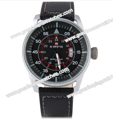Naviforce Military Style Watch Japanese Movement Quartz with Date Function - BLACK