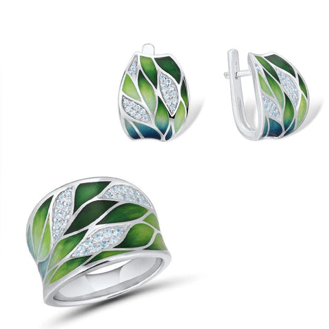 Set of Handmade Eco Bamboo Leaves Ring and Earings for Women