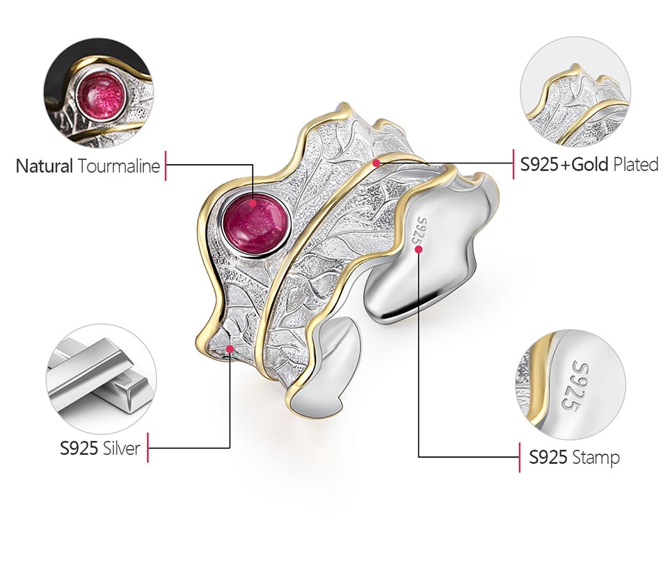 100% Genuine 925 Sterling Silver Adjustable Peony Leaf Ring with Natural Tourmaline Gemstone