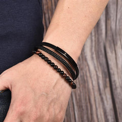 Naturally Handmade Men's Beaded Leather Bracelet