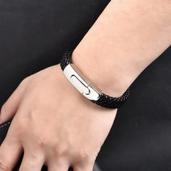 Genuine Black Rope Chain Leather Bracelet