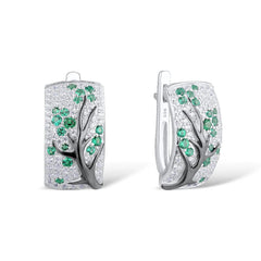Set of Green Branch Cherry Tree Earrings & Ring