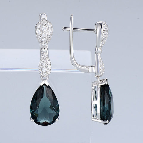 Blue Sapphire Drop Earrings for Her