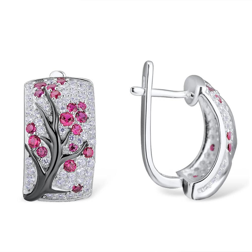 Set of Brilliant Cherry Tree Earrings & Ring