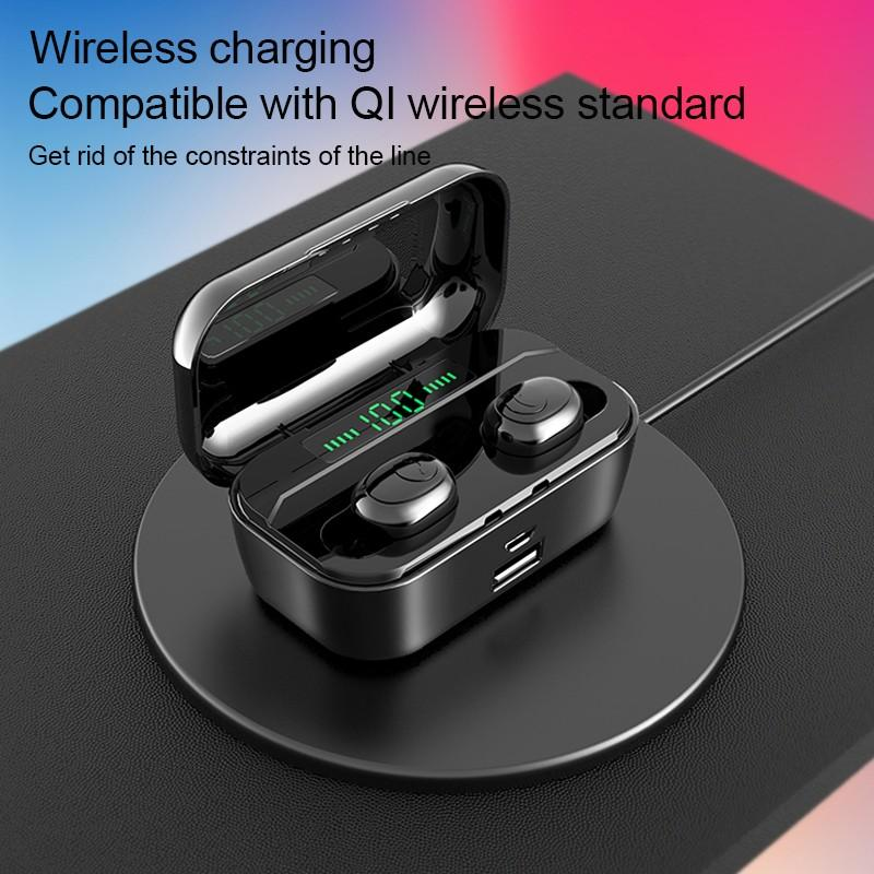 G6S LED Fast Wireless Charging Waterproof Bluetooth Earphone with 3500 mAh Power Bank