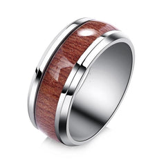 High Quality Stainless Steel Rings Inlaid with Wood Grain & Opal