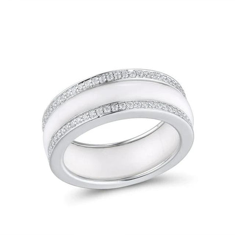 White or Black Ceramic on Genuine 925 Sterling Silver Ring
