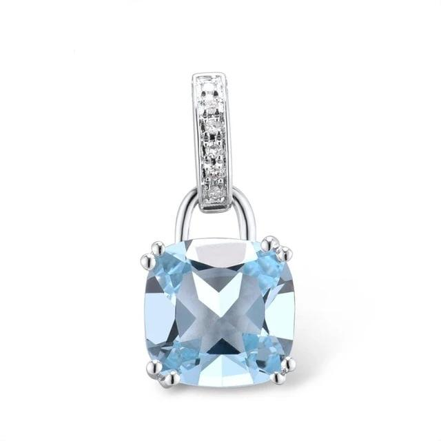 Genuine 14K 585 White Gold/Rose Gold Radiant Sky Blue Topaz or Sparkling Garnet Pendant