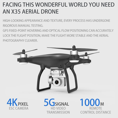 New 2020 X35 Prefessional RC Quadcopter with 4K HD Camera & Gimbal Stabilizer