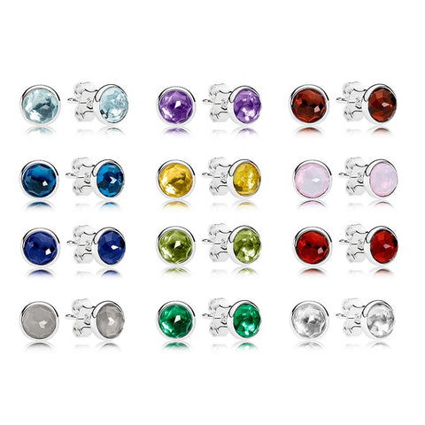 Water Drop Shape Birthstone Earings on Pure 925 Sterling Silver