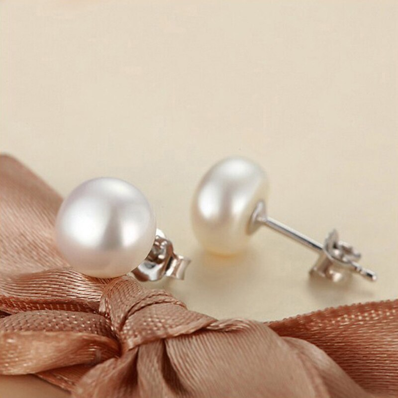 Natural Pearl Stud on Genuine 925 Sterling Silver Earings