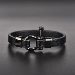 Black Horseshoe Leather Bracelet