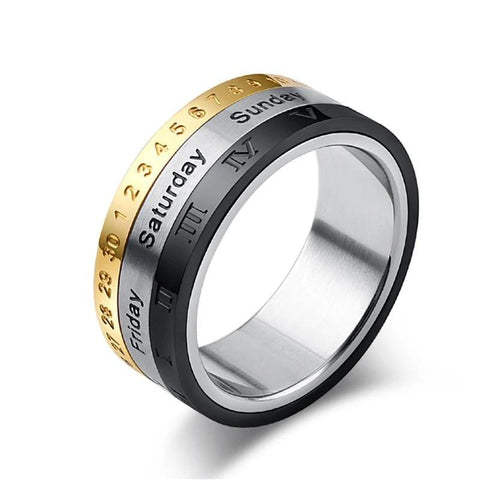Rotatable Stainless Steel 3 Part Roman Numerals Ring with Time & Calendar