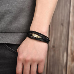 Multi-Layer Genuine Leather Leaf Feather Bracelet with Magnetic Clasp