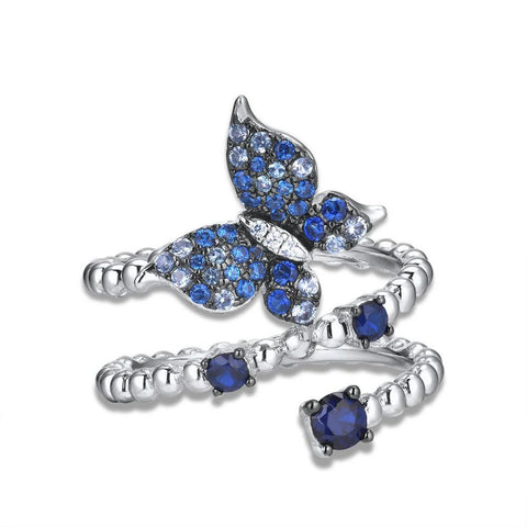 Elegant Blue Spinel Butterfly Ring