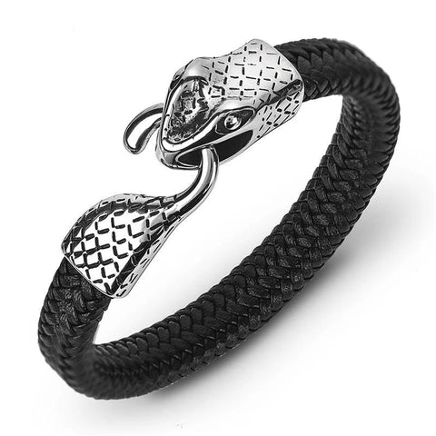 Unique Stainless Steel Snake Hook Leather Bracelet