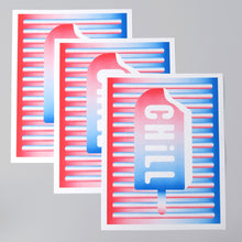 Load image into Gallery viewer, Chill Pop is an art print that is comprised of three colours; red, white, and blue. It's inspired by the hot and cold dynamic and has a pop art aesthetic.