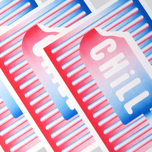 Chill Pop is an art print that is comprised of three colours; red, white, and blue. It's inspired by the hot and cold dynamic and has a pop art aesthetic.