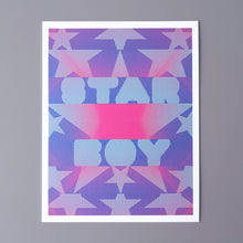 "Load image into Gallery viewer, Star boy is a pop art print that was based on ""The Weekend"" song Star Boy. It's dark blue, sky blue, and magenta. It has lots of stars arranged around the words star boy."