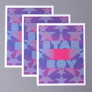 "Star boy is a pop art print that was based on ""The Weekend"" song Star Boy. It's dark blue, sky blue, and magenta. It has lots of stars arranged around the words star boy."