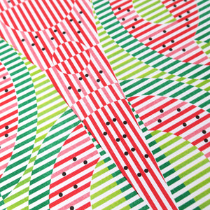 This print is called Watermelon. It has lime green, green, red, and black. The black dots are the seeds and it's an abstract representation of watermelon.