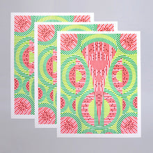 Load image into Gallery viewer, This print is called Watermelon. It has lime green, green, red, and black. The black dots are the seeds and it's an abstract representation of watermelon.