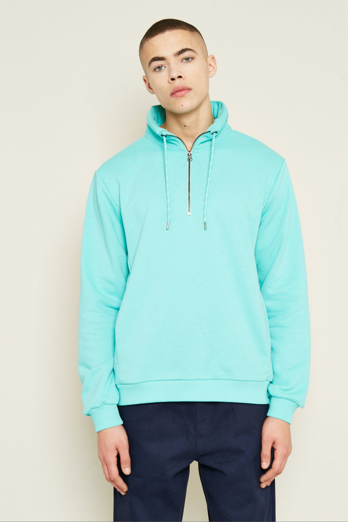MONSANTO 1/2 ZIP SWEATER - TURQUOISE