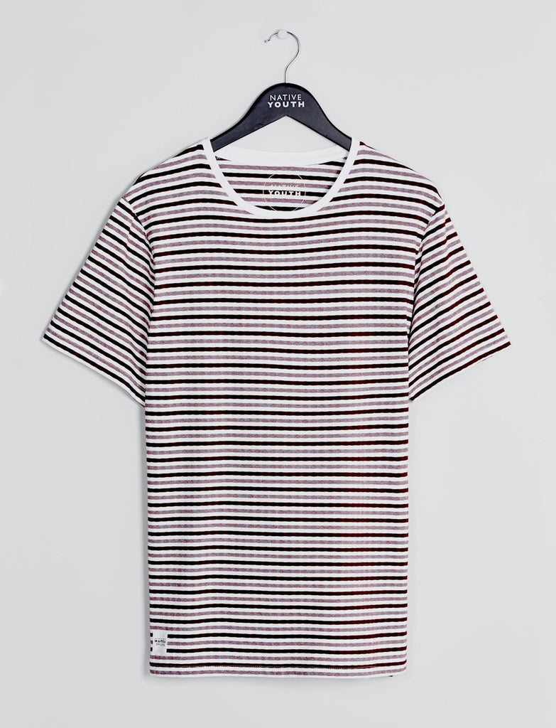 Burgundy & White Seagrove Striped Tee