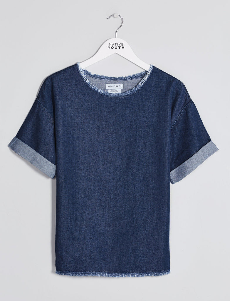 Indigo Oversized Stream Tencel Tee