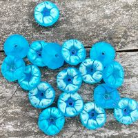 Flower Glass Bead - Aqua AB w /Hole 14MM - 2 ea
