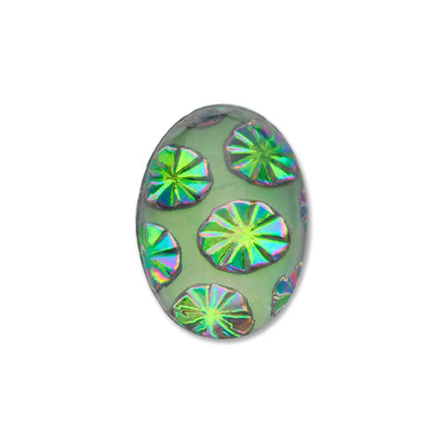 Bubble Burst Oval Flat-Back Stone 18x13 mm Green Sphinx 2pcs