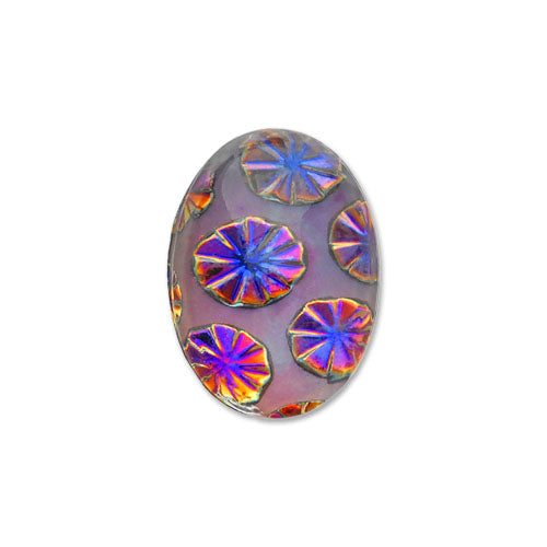 Bubble Burst Oval Flat-Back Stone 18x13 mm Volcano 2pcs