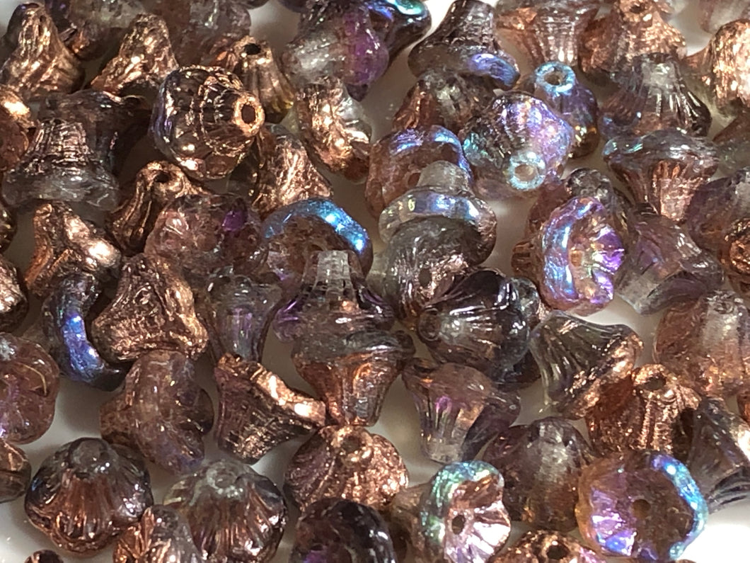 Flower Cup Bead 7x5mm Copper Rainbow- 50 pcs